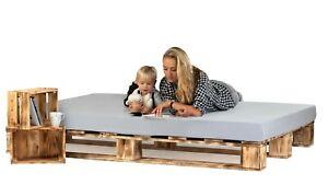 Palettenbett aus Holz Holzbett Massivholzbett geflammt 140x200 cm