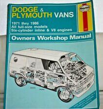 Haynes Dodge & Plymouth VANS, 1971-86, Full-size Models, Workshop MANUAL
