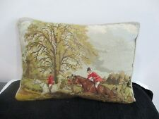 Needlepoint and petit point pillow hunting scene. Nice one 12 by 16