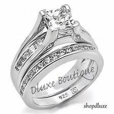2.10 кар Princess Cut AAA цирконий серебро 925 пробы обручальное кольцо комплект женский размер 5-11