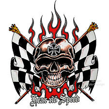* Racing Skull Rockabilly HotRod Kustom Garage Tuning Totenkopf T-Shirt *4215