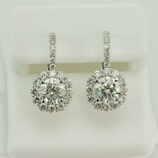 STUNNING 4.40 CT. SI1-G DIAMOND HALO DESIGN EURO WIRE EARRINGS 14K WHITE GOLD