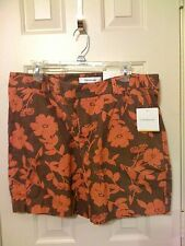 New 12 Croft & Barrow coral brown flowered linen cotton 4 pocket  shorts