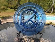 "COBALT BLUE ROYAL LACE 9 7/8"" GRILL PLATE (S)  HAZEL ATLAS DEPRESSION GLASS"