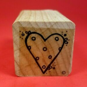 """Small Wood Mounted 1"""" x 1"""" Mini Rubber Stamp - Polka Dot Decorated Heart Dotted"""