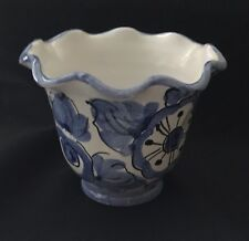 Small Cobalt Blue And White Italy Pot or Bowl Scalloped Edge Enesco 3 1/4""