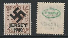 GB Jersey (273) 1940 Swastika Overprint forgey om genuine 5d stamp unmounted