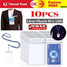 10x Clear Plastic Badge ID Holder Double Side Card Vertical Hard Multi Zip Lock