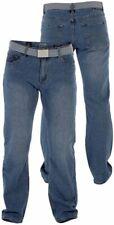 NEW Mens Big Size Duke Straight Leg Jeans With Belt - Waist - 46 48 54 Leg 30 32