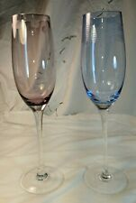 2 Mikasa wine, champagne glasses flutes 1 pink, 1 blue, pattern unknown, etched