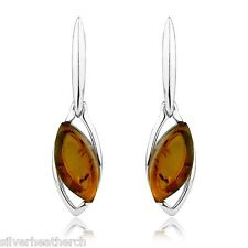 925 Sterling Silver Triple Marquise Amber Cabachon Stud Earrings