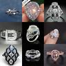 925 Silver Fashion Women Moonstone& Sapphire Engagement Wedding Ring Sz5-10