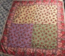 "Vintage Shabby April Cornell Floral Square Tablecloth 54"" X 53"" Reversible Lace"