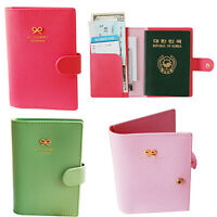 PASSPORT HOLDER COVER TICKET CARD CASE HOT SALE BOWKNOT PU LEATHER TRAVEL WALLET