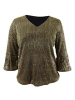 Alfani Women's Plus Size Metallic Balloon-Cuff Top