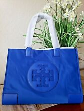 TORY BURCH ELLA LARGE TOTE BAG NYLON AND LEATHER REGAL BLUE + DUSTER BAG NWT