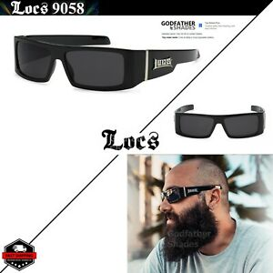 LOCS 9058 Black Sunglasses | Authentic Gangster Rectangular Men Maddogger Shades