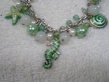 "Vintage Charm Bracelet 8"" Silvertone  Green White Beads Seahorse Snail Starfish"