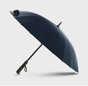 Men Umbrella Quality 24K Strong Windproof Glassfiber Frame Wooden Long Handle