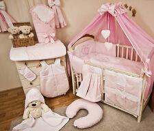 Babybett Tany mit 10tlg Komplett-Set Bettwäsche Matratze Nestchen Herzchen/Rosa