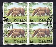 ZAMBIA = 1975 General Issue, 1n Rhino`s. SG226. Block of 4. Fine Used. (a)