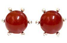 925 Sterling Silver Carnelian Sphere Ball Stud Earrings Flower Prong Setting