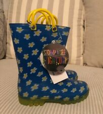LILLY OF NEW YORK Girl's Rain Boots Size 9 Blue Daisy Light Up Boots Shoes New
