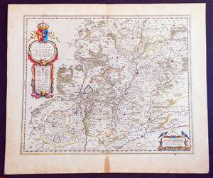 1634 Joan Blaeu Large Antique Map of Glogow, Lower Silesia, Poland