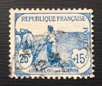 FRANCE : 1917 War Orphan's Fund 25c+15c pale-blue SG373 fine used