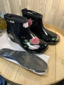 Sloggers Sz 7 Women's Black Floral Spring Rose A374394 New