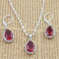 Trendy Women 925 Silver Ruby Water Drop Jewelry Set Necklace Earrings Set Chic