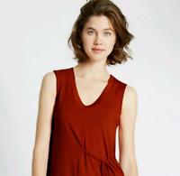 M&S Marks Orange Ladies PerUna Soft Tie Front Stretch Long Top Tunic 16 BNWT