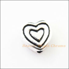 20Pcs Antiqued Silver Tone Heart Spacer Beads Charms 8.5mm
