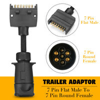 Trailer Adaptors 7 Pin Flat Plug To 7 Pin Round Female Socket Caravan Connector