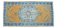 3x6 Rug Hand Knotted Area Rug Turkish Vintage Distressed Low Pile Oushak Rug