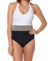 Bleu Rod Beattie Womens Swimwear White Size 4 Colorblock One Piece $119- 567