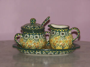 Polish Pottery Cream And Sugar 4 PC Set! UNIKAT Signature Exclusive Miss Daisy!