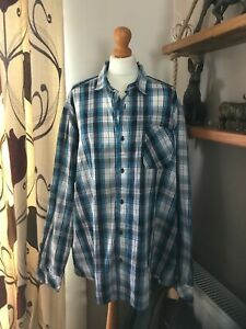 angelo litrico c&a blue multi checked shirt slim fit size 3XL cotton/polyester