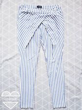 Amnesia contemporary striped blue relaxed front trousers