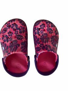 Crocs Floral Pink Purple Slip on Sandals Girl Size J 2 Hawaiian beach