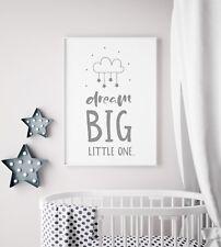 Dream Big Little One Mobile Unisex Grey Nursery Print Kid Room Wall Art Picture