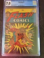 FLASH COMICS #74 CGC FN/VF 7.0; White pg!; Tiger cvr! scarce!