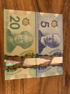 CANADA 20 + 5 Banknotes. 25 Canadian Dollars Total. 2 Bank Note. Cir.  Bill H