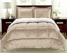 Cathay Home Fashions Reversible Faux Fur and Sherpa 2 Piece Comforter Set, Tw.