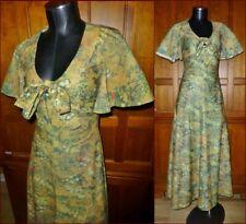 Vintage 70's Floral Print Jersey Flutter Hippie Boho Festival Party Maxi DRESS