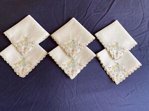 Vintage Set 6 Cream Linen Hand Embroidered Madeira Work Afternoon Tea Napkins