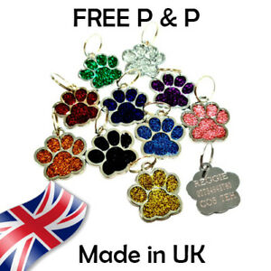Personalised Puppy Pet Paw ID Tags Dog ID / Cat ID Bling Tag Name ENGRAVING