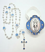 """Petite Miraculous Medal Rosary Blue Enamel Accents 15""""  w/ Two-Tone Case  Italy"""