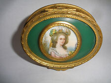 Antique French miniature Marie Antoinette Portrait Painting hinged bronze box