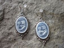 MOTHER AND CHILD CAMEO ANTIQUED GOLD EARRINGS - QUALITY - BLUE - MOTHER'S DAY